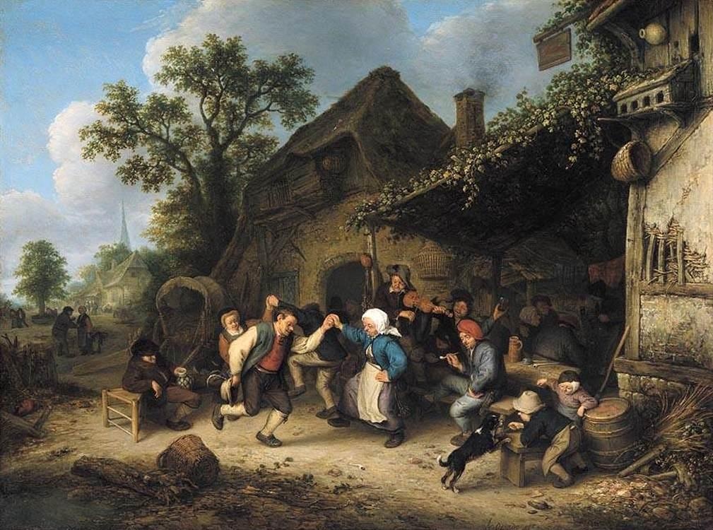 Peasants Carousing and Dancing outside an Inn - Adriaen van Ostade