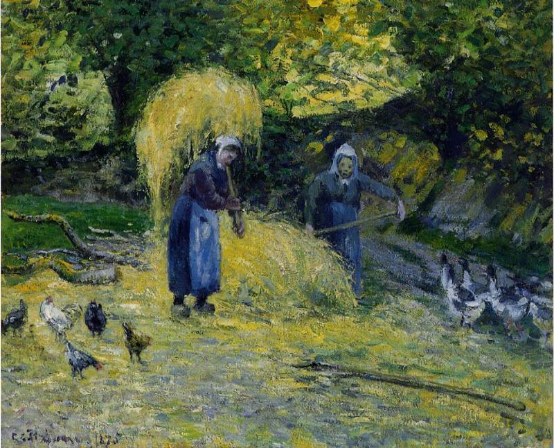 Peasants Carrying Straw, Montfoucault - Camille Pissarro