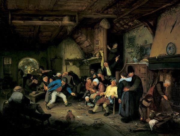 Peasants Dancing in a Tavern - Adriaen van Ostade