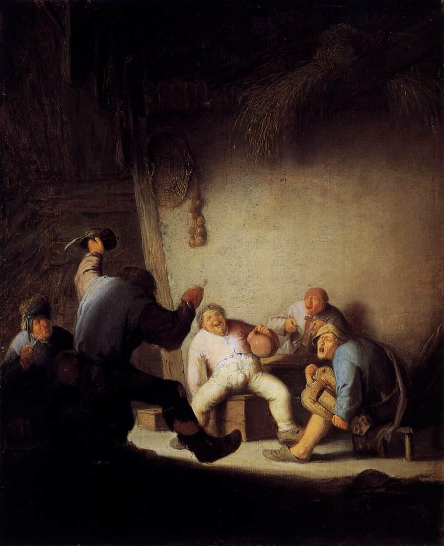 Peasants Drinking and Making Music in a Barn - Adriaen van Ostade