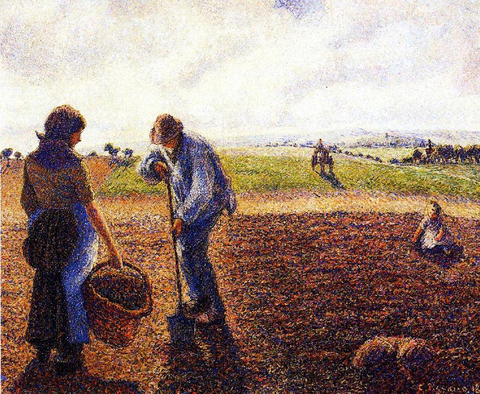 Peasants in the Field, Eragny - Camille Pissarro