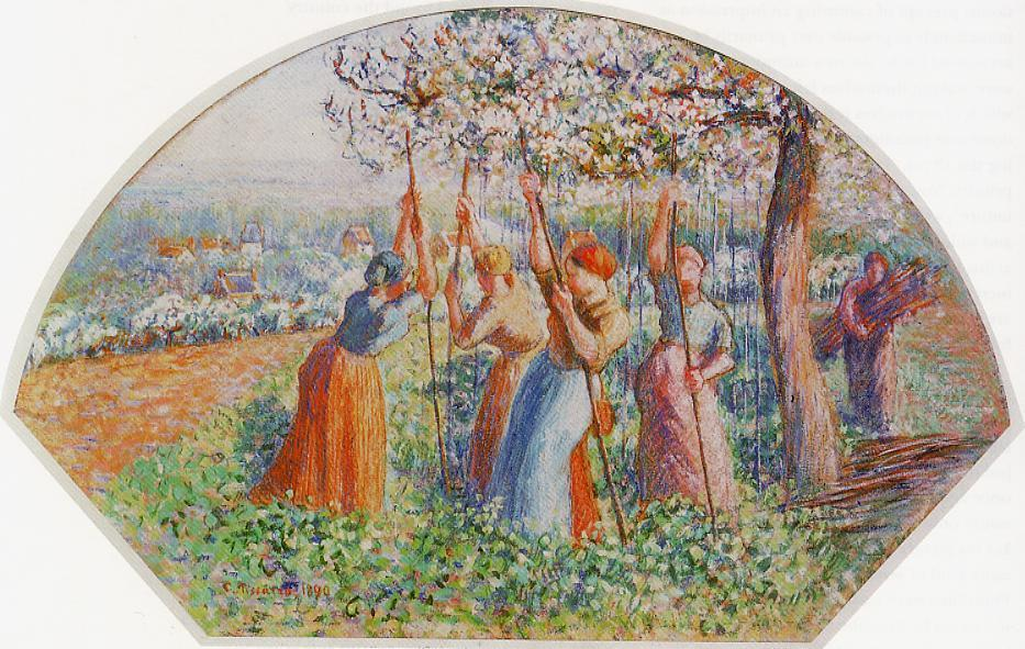 Peasants Planting Pea Sticks (also known as Peasants planting in the field) - Camille Pissarro