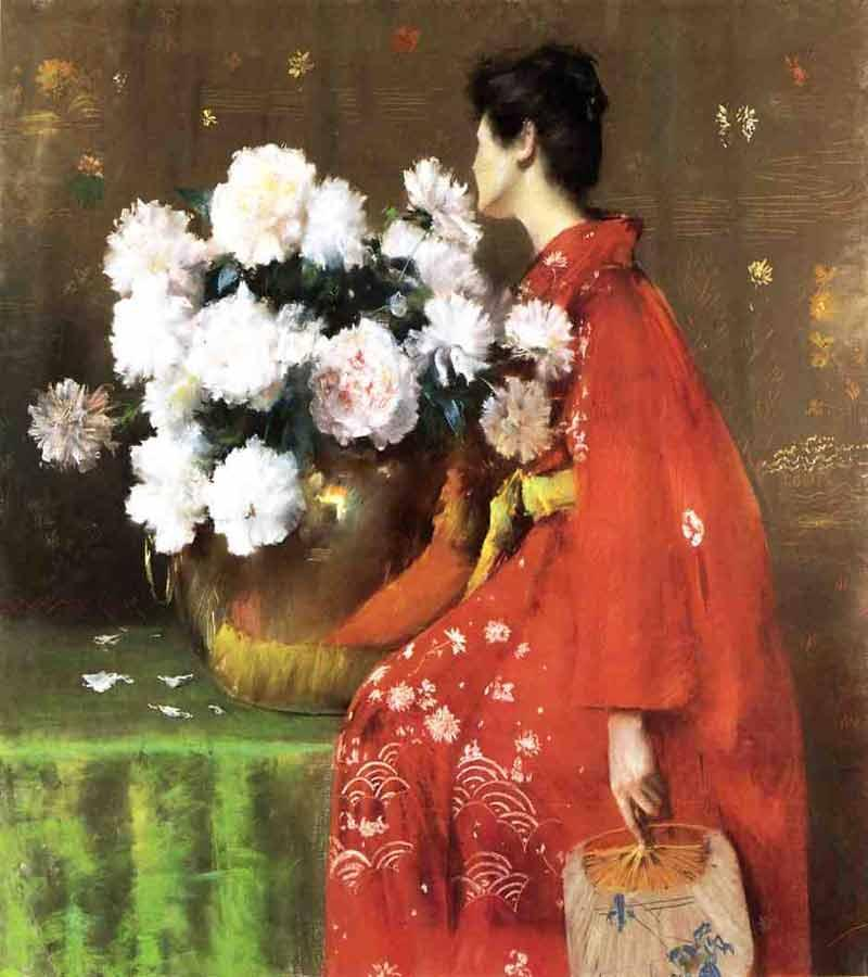 Peonies  - William Merritt Chase