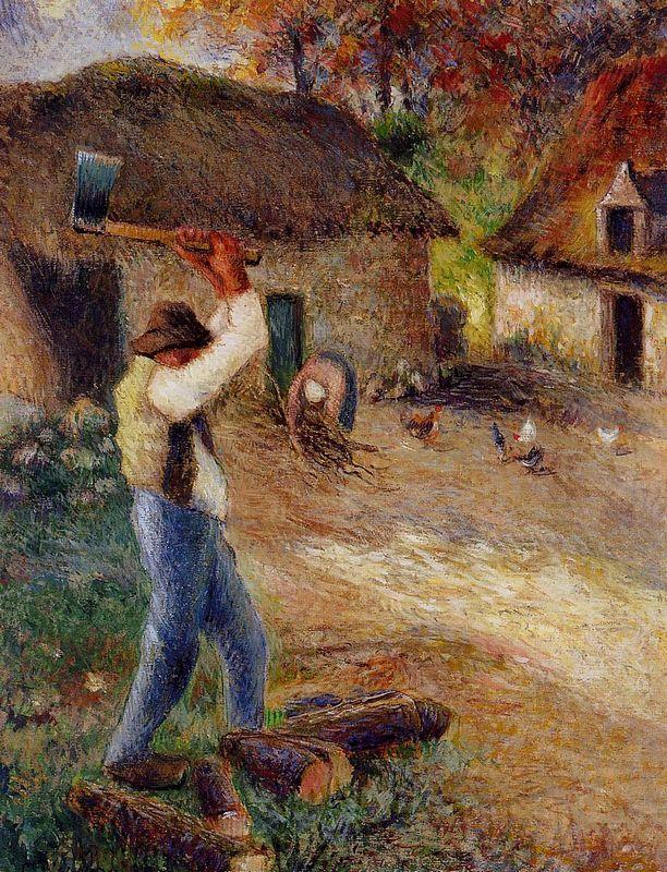 Pere Melon Cutting Wood - Camille Pissarro