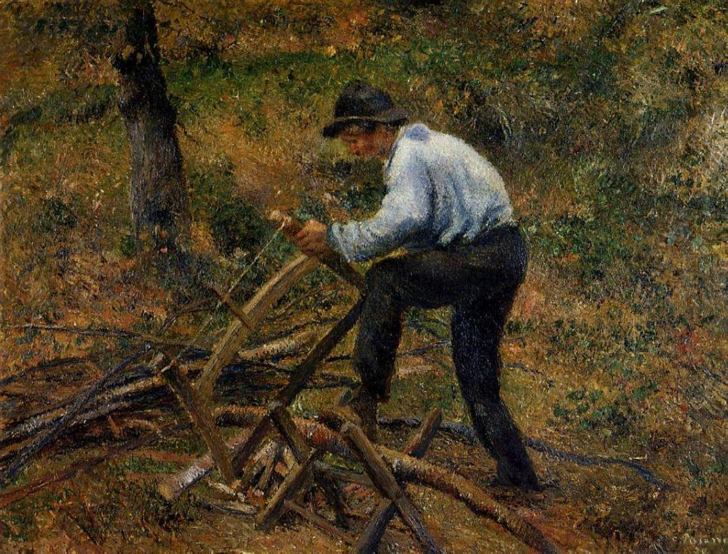 Pere Melon Sawing Wood, Pontoise - Camille Pissarro