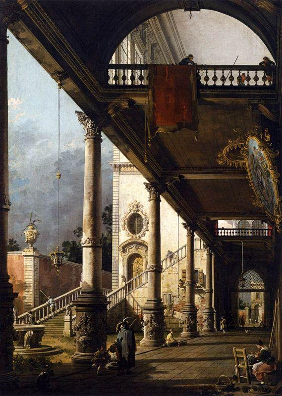 Perspective View with Portico - Canaletto