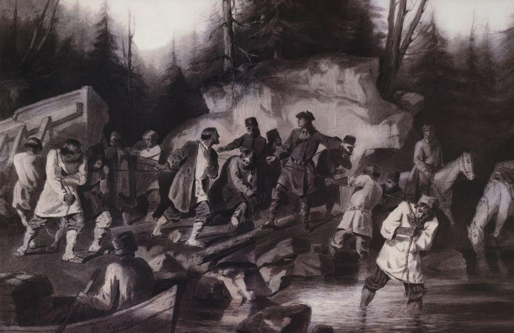 Peter I drags ships from the Onega Bay in Lake Onega in 1702 - Vasily  Surikov