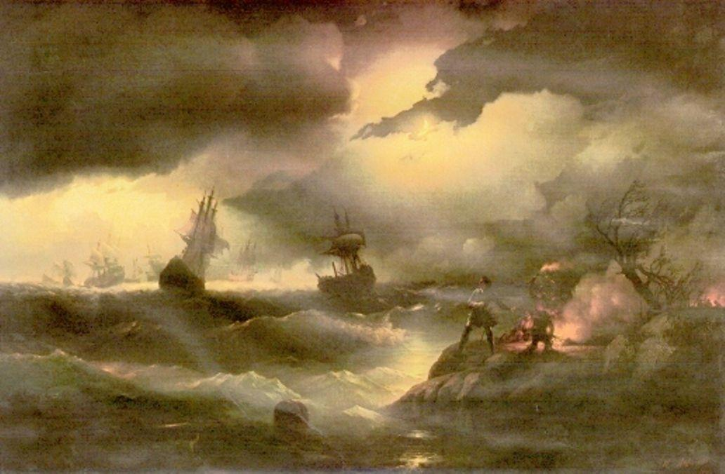 Peter the First to light out a watch fire - Ivan Aivazovsky