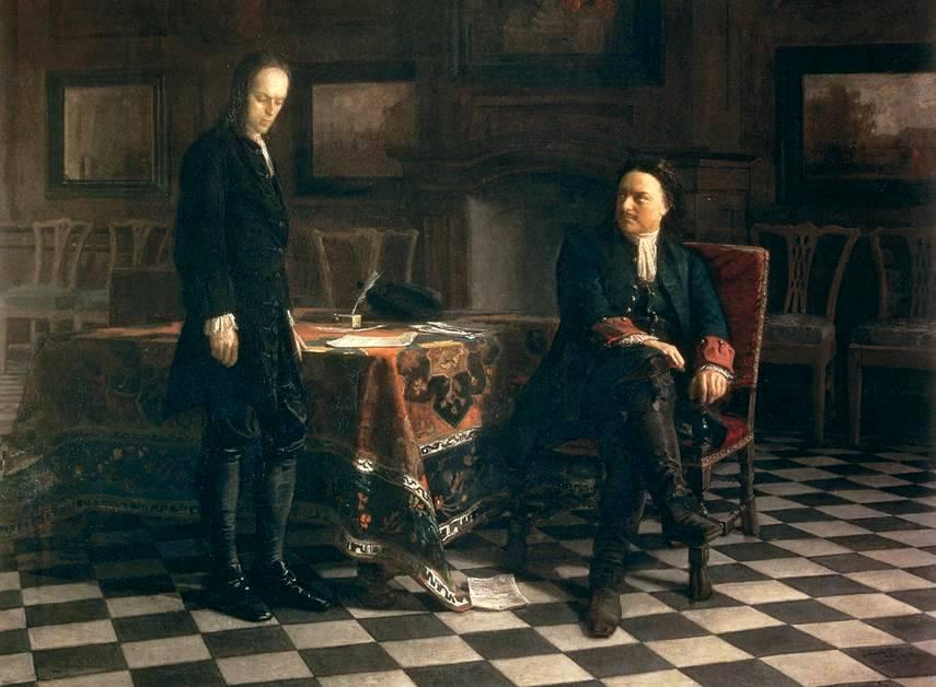 Peter the Great Interrogating the Tsarevich Alexei Petrovich at Peterhof - Nikolai Ge