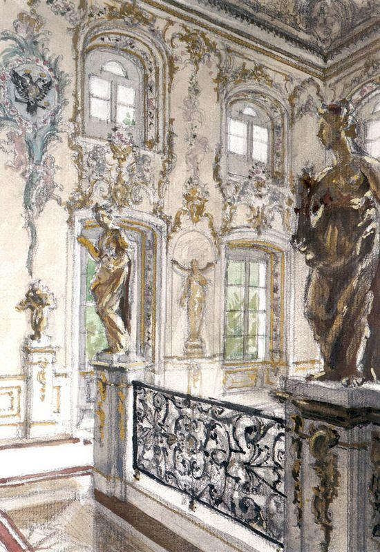 Peterhof Palace. Merchant staircase at the Grand Palace - Alexandre Benois