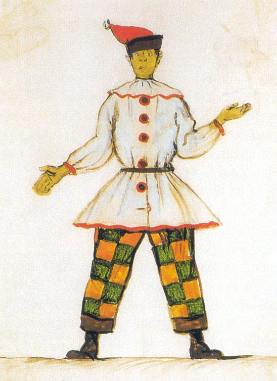 Petrushka. Costume design for Vatslav Nijinsky - Alexandre Benois