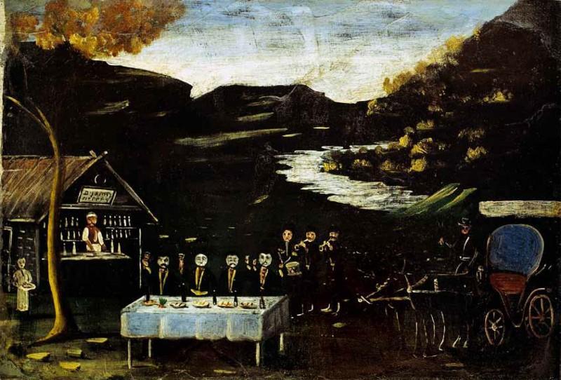 Phaeton and the night feast - Niko Pirosmani