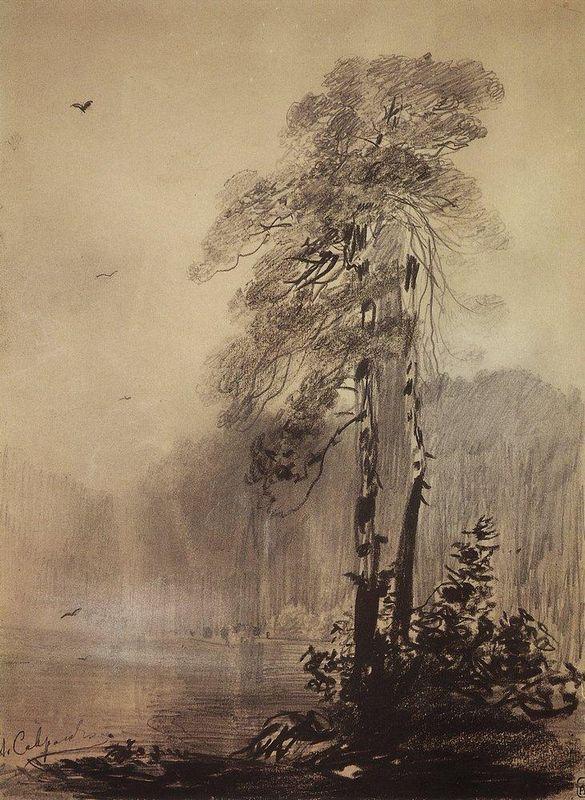 Pines on the shores of Lake - Aleksey Savrasov