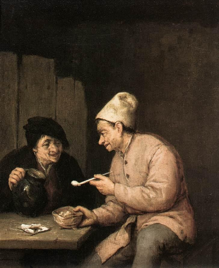 Piping and Drinking in the Tavern - Adriaen van Ostade