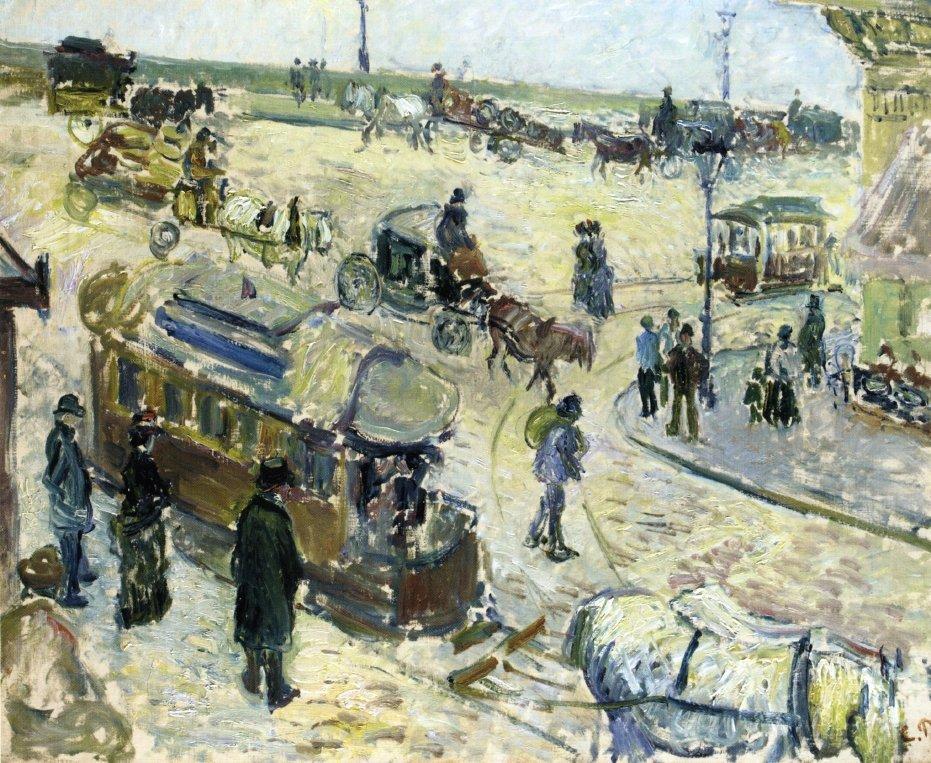 Place de la Republique, Rouen (with Tramway) - Camille Pissarro