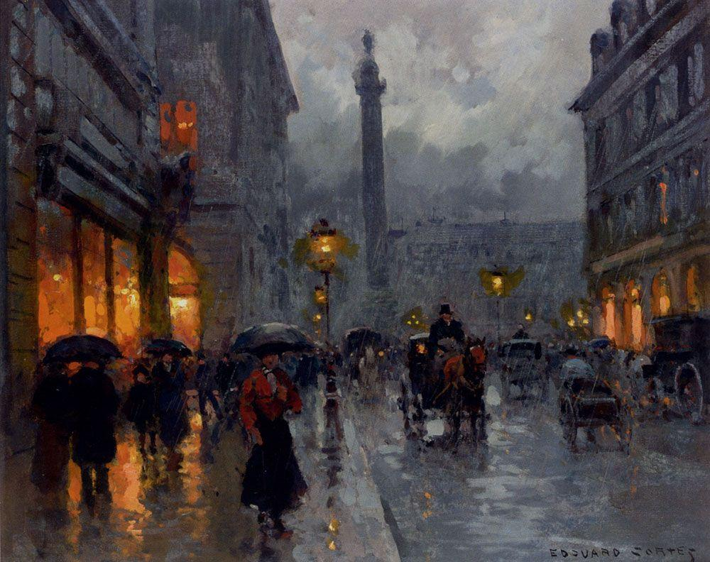 Place Vendome in Rain - Edouard Cortes