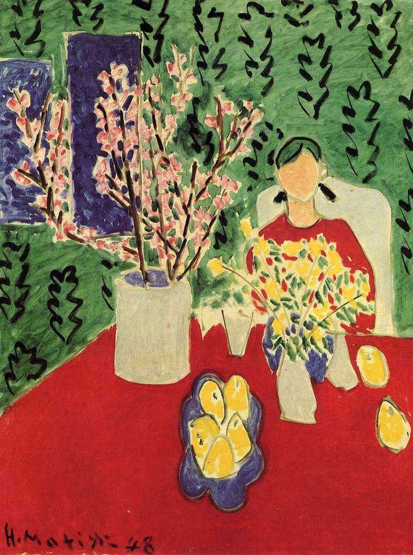Plum Blossoms, Green Background  - Henri Matisse