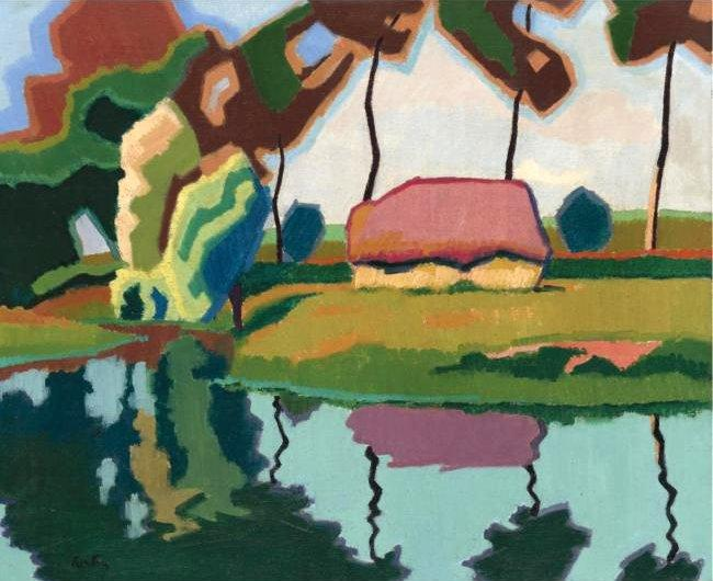 Pond and Small House - Auguste Herbin