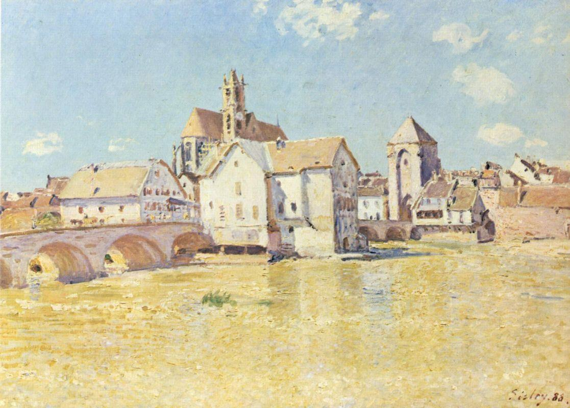 Pont de Moret dans le soleil du matin - Alfred Sisley