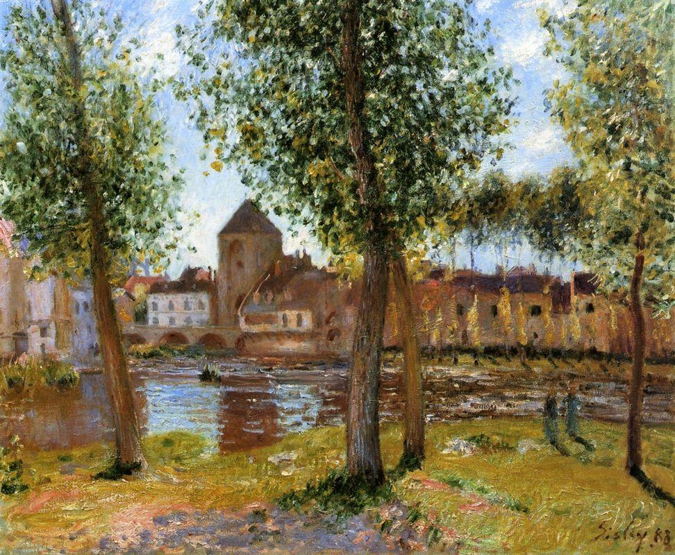 Poplars a Moret sur Loing, an August Afternoon - Alfred Sisley
