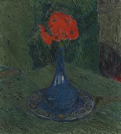 Poppy in Blue Vase - Cuno Amiet