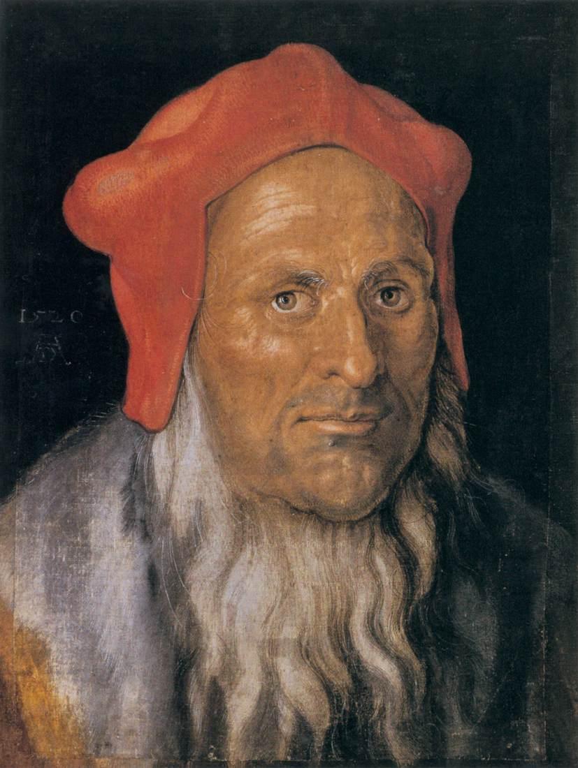 Portrait of a Bearded Man in a Red Hat - Albrecht Durer