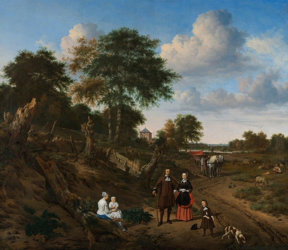 Portrait of a couple with two children and a nursemaid in a landscape  - Adriaen van de Velde
