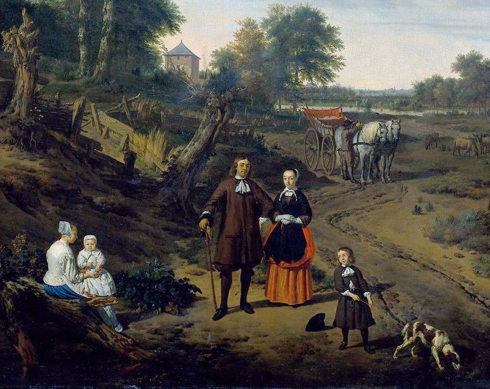 Portrait of a couple with two children and a nursemaid in a landscape (detail) - Adriaen van de Velde