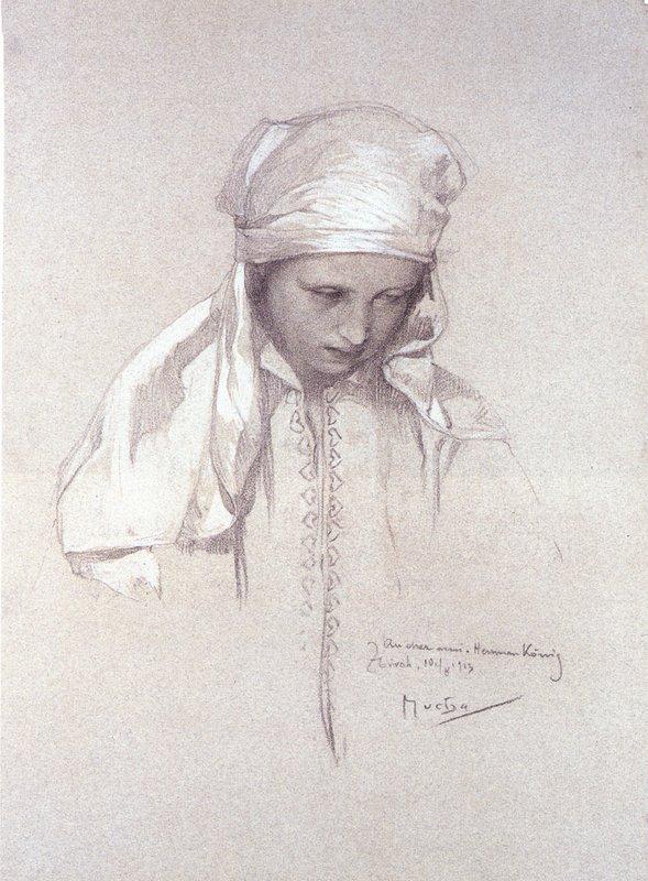 Portrait of a Girl - Alphonse Mucha