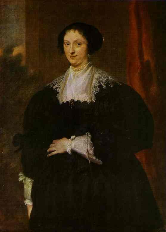 Portrait of a Lady Dressed in Black, Before a Red Curtain - Anthony van Dyck