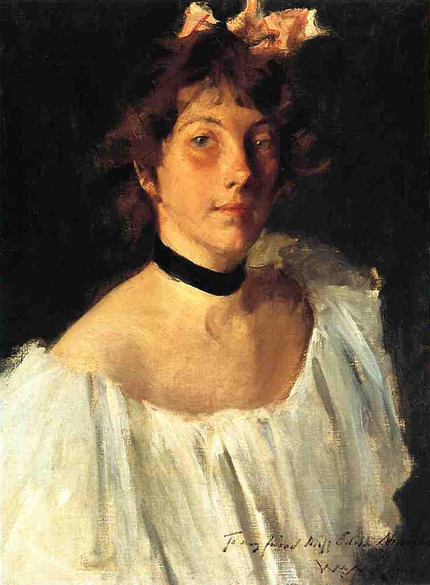 Portrait of a Lady in a White Dress (aka Miss Edith Newbold) - William Merritt Chase