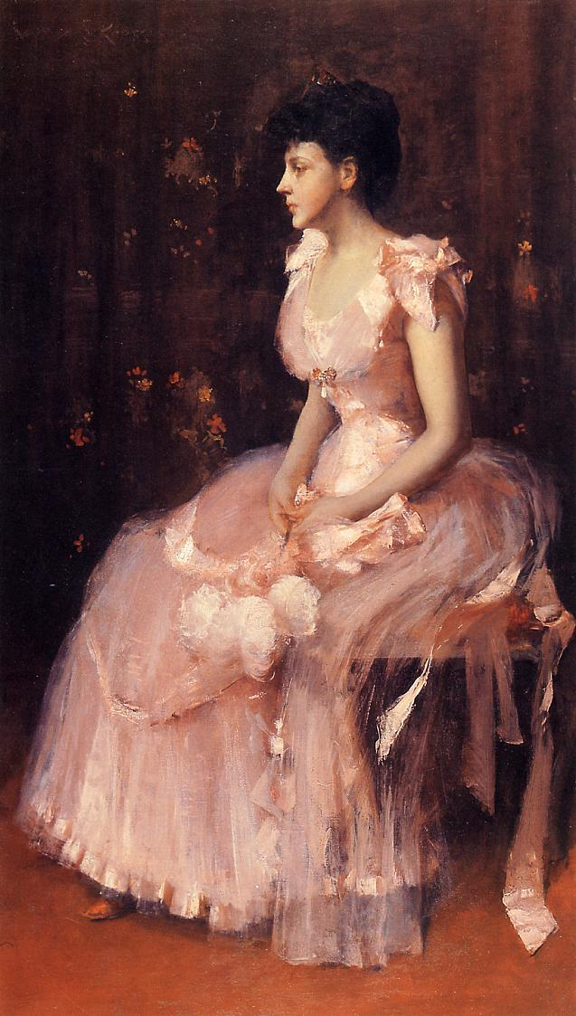 Portrait of a Lady in Pink (aka Lady in Pink Portrait of Mrs. Leslie Cotton) - William Merritt Chase