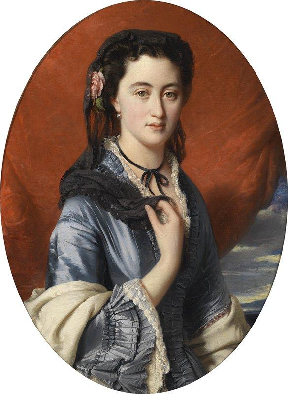Portrait of a lady with roses in her hair, (Countess Pushkina) - Franz Xaver Winterhalter