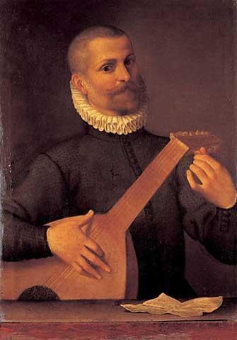 Portrait of a Lutenist (Portrait of the musician Orazio Bassani) - Agostino Carracci