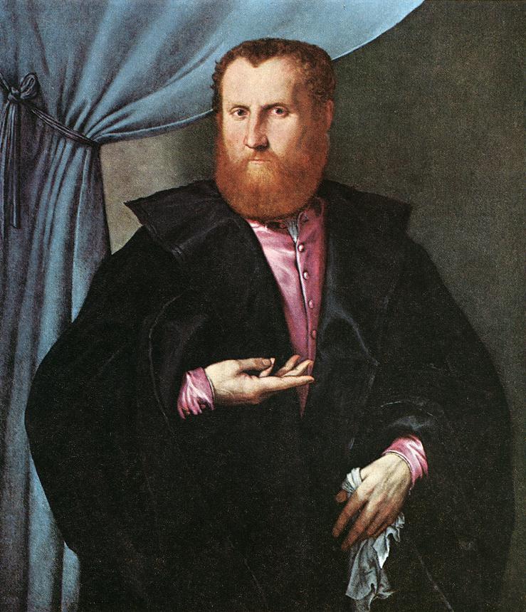 Portrait of a Man in Black Silk Cloak - Lorenzo Lotto
