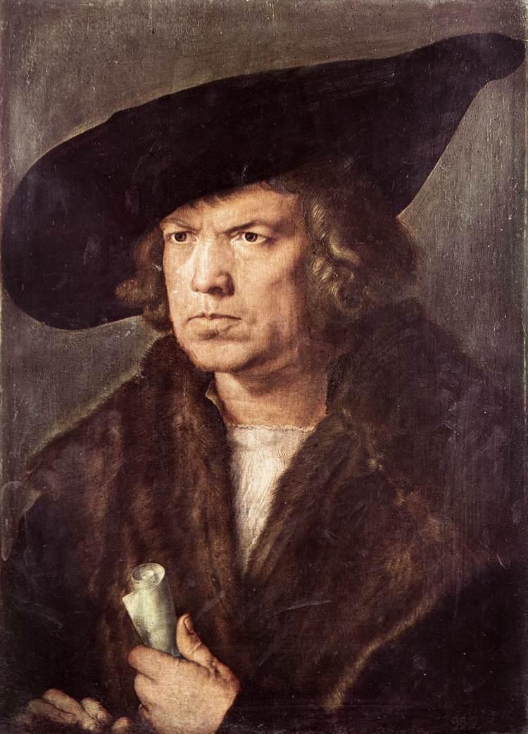 Portrait of a Man with Baret and Scroll - Albrecht Durer