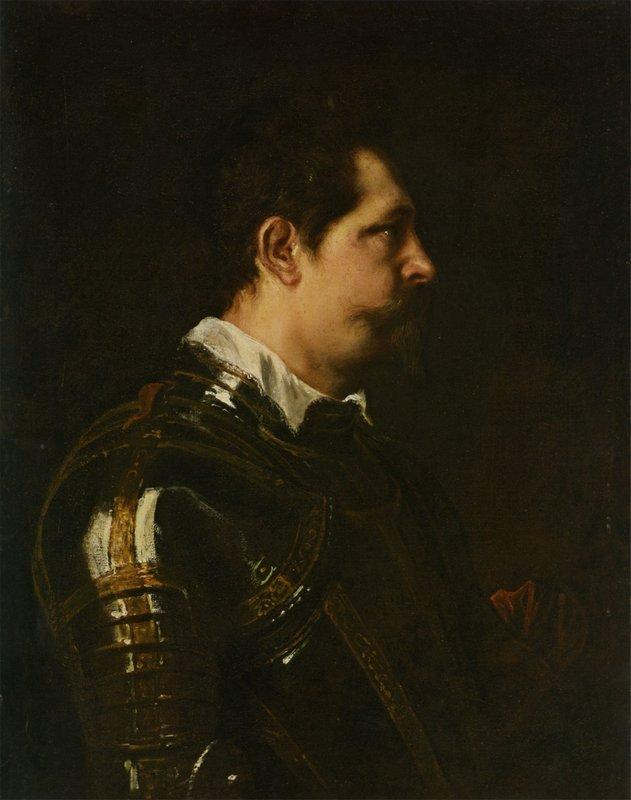 Portrait of a Military Commander bust length in Profile in Damascened armour with white colland red sash - Anthony van Dyck