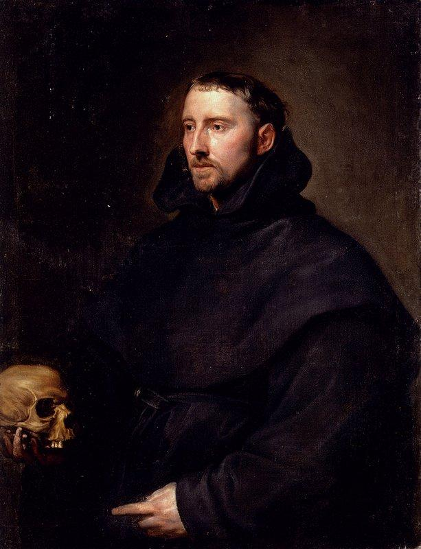 Portrait Of A Monk Of The Benedictine Order, Holding A Skull - Anthony van Dyck