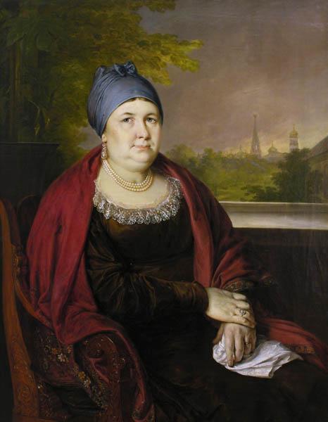Portrait of a widow in a blue povoynik - Vasily Tropinin