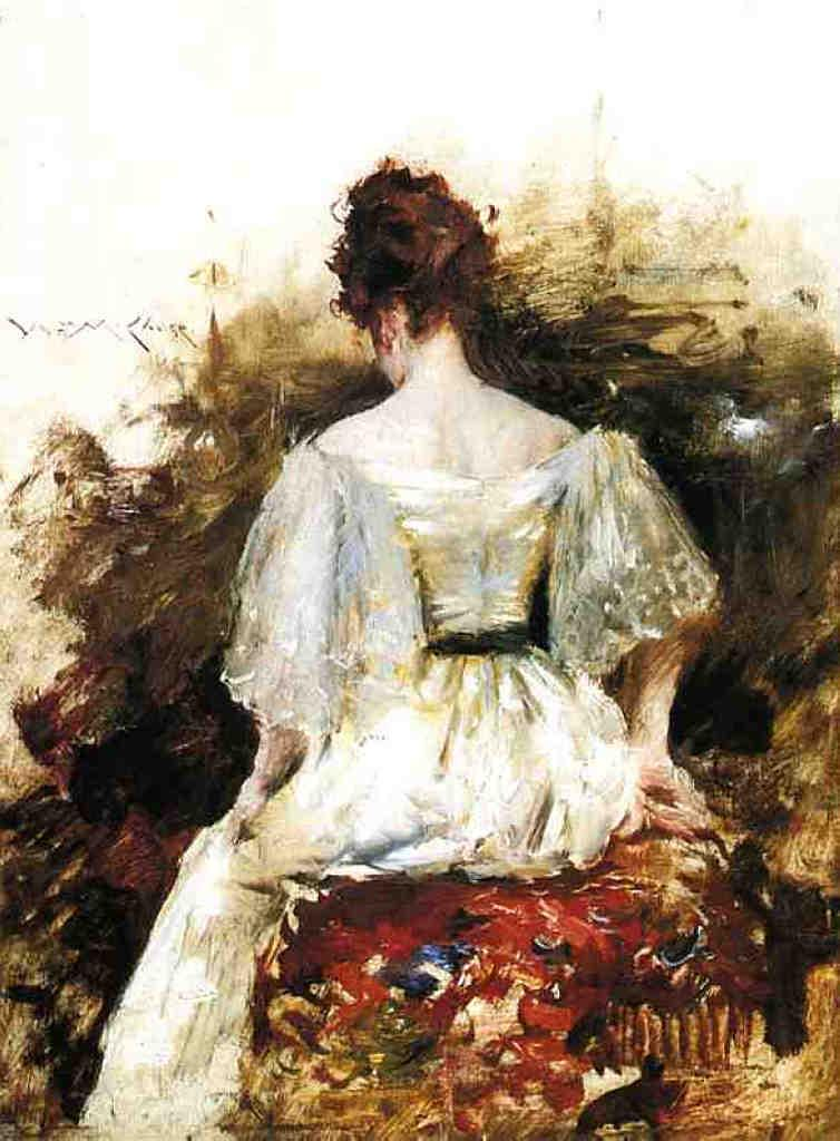 Portrait of a Woman - The White Dress - William Merritt Chase