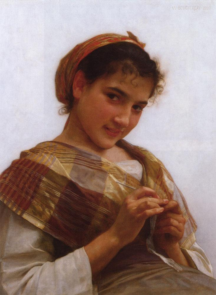 Portrait of a Young Girl Crocheting - William-Adolphe Bouguereau