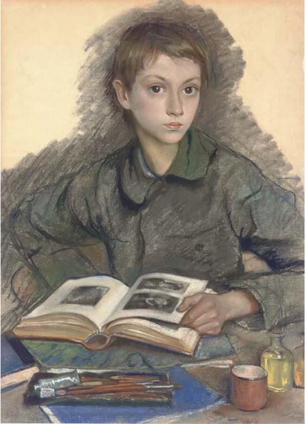 Portrait of Aleksandr Serebriakov studying an album - Zinaida Serebriakova