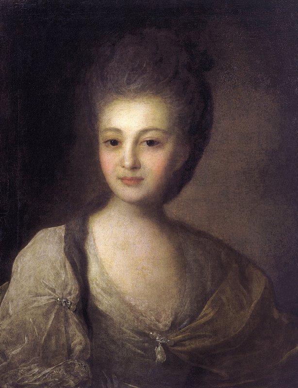 Portrait of Alexandra Struiskaya - Fyodor Rokotov