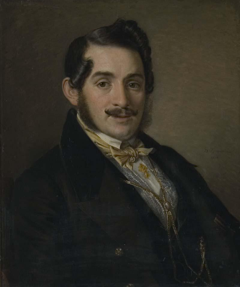 Portrait of an unknown in a black coat - Vasily Tropinin