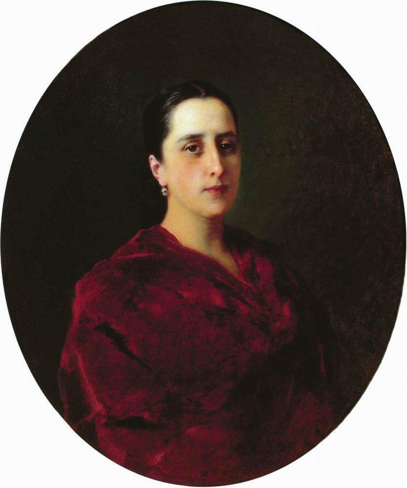 Portrait of an Unknown in Red Dress - Konstantin Makovsky