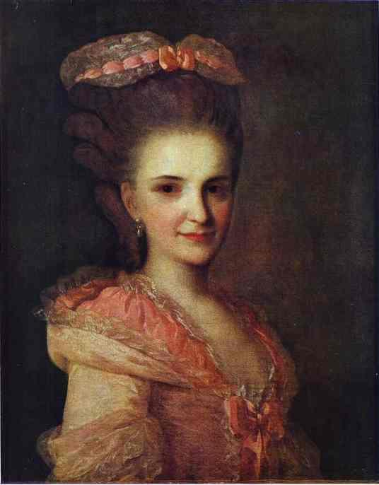 Portrait of an Unknown Lady in a Pink Dress - Fyodor Rokotov