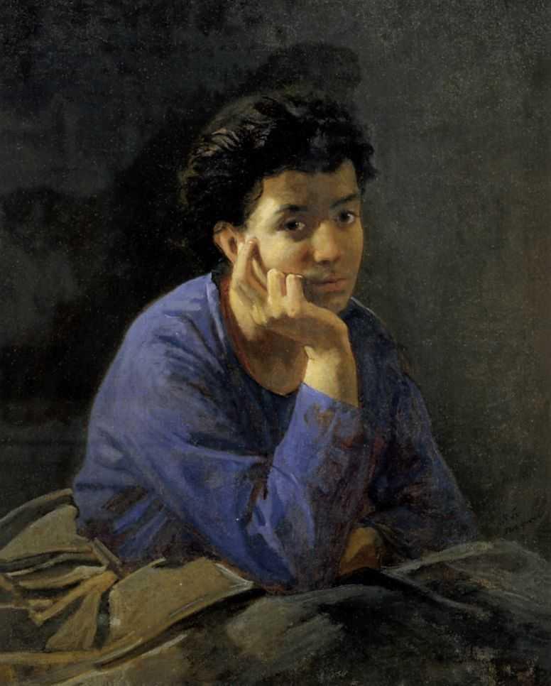 Portrait of an Unknown Woman in a blue blouse - Nikolai Ge