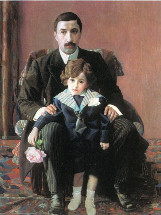 Portrait of Arman Frantsevich Aziber and his son - Pavel Filonov
