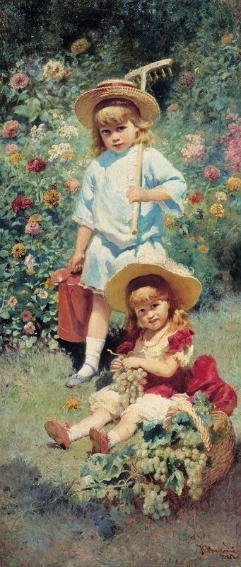 Portrait of Artist's Children - Konstantin Makovsky