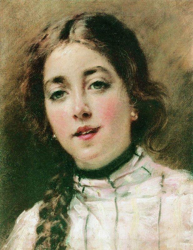 Portrait of Artist's Daughter Olya - Konstantin Makovsky